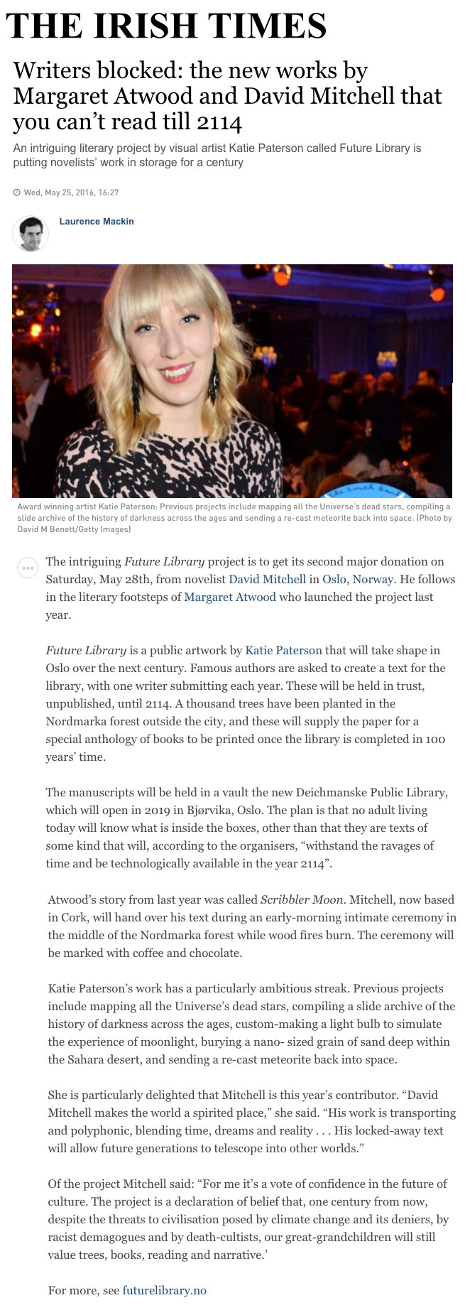 future library the irish times writers blocked the new works by margaret atwood and david mitchell that you can t till 2114